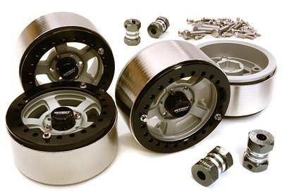 Integy 1.9 Size Machined High Mass Wheel (4) w/14mm Offset Hubs (Dull Silver)