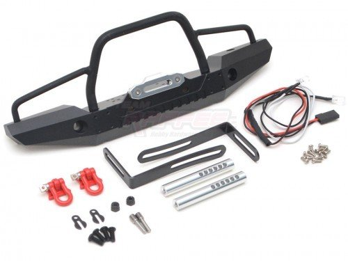 Team Raffee Co. Steel Tough Front Bumper W/ Hooks and Led Light 1 Set for Traxxas TRX-4