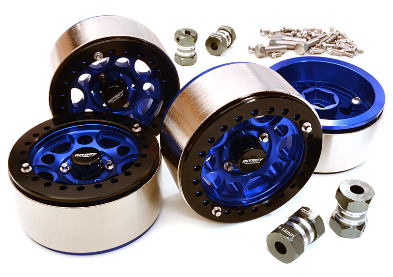 Integy 1.9 Machined High Mass Wheel (4) w14mm Spacers (Blue)