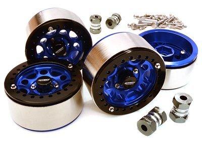 Integy 1.9 Machined High Mass Wheel (4) w14mm Spacers (Blue)