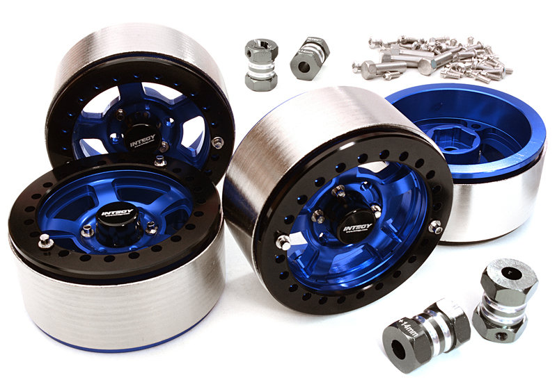Integy 1.9 Machined High Mass Wheel (4) w/14mm Spacers (Blue)