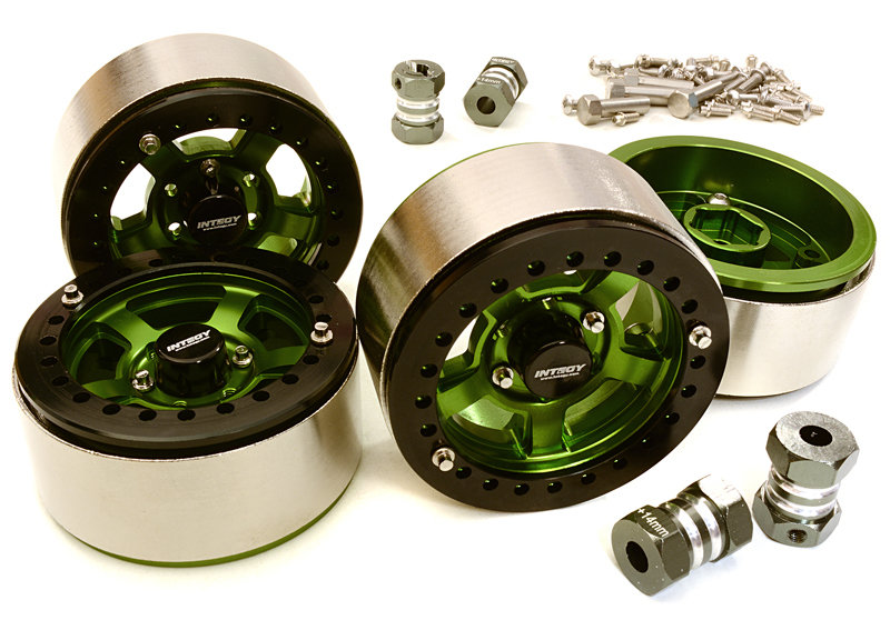 Integy 1.9 Machined High Mass Wheel (4) w/14mm Spacers (Green)