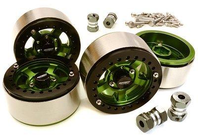 Integy 1.9 Machined High Mass Wheel (4) w/14mm Spacers (Green)