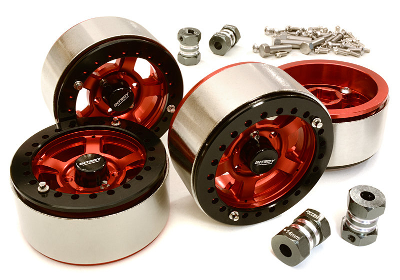 Integy 1.9 Machined High Mass Wheel (4) w/14mm Spacers (Red)