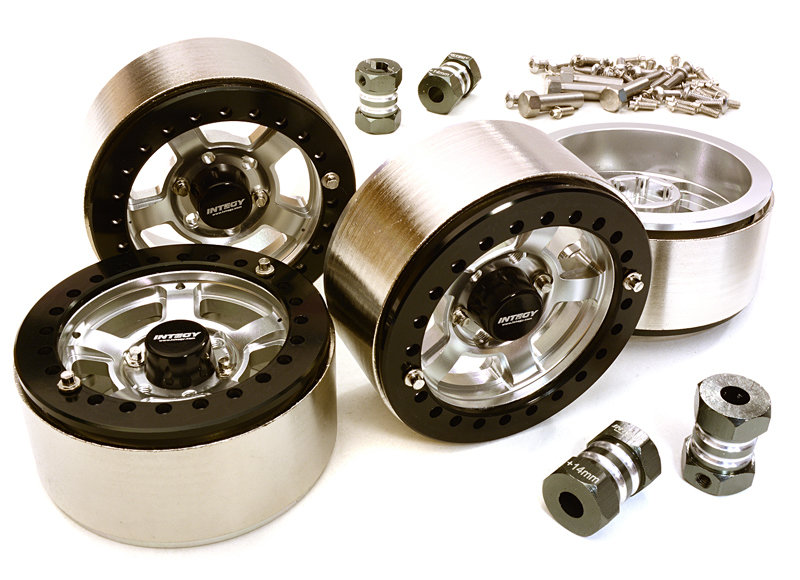 Integy 1.9 Machined High Mass Wheel (4) w/14mm Spacers (Silver) C27032Silver
