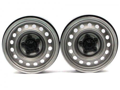 Boom Racing 1.9 Narrow 21mm Badass Classic 16-Hole Steelie & CNC Aluminum Beadlock Wheels w/ Center Hubs (Front) 2pcs Gun Metal