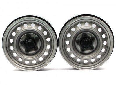 Boom Racing 1.9 Narrow 21mm Badass Classic 16-Hole Steelie & CNC Aluminum Beadlock Wheels w/ Center Hubs (Rear) 2pcs Gun Metal