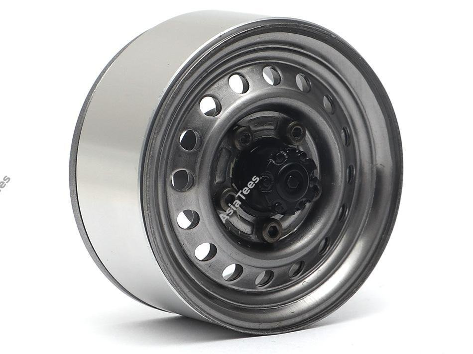 """Boom Racing 1.55"""" 16-Hole Classic Steelie Reversible Beadlock Wheels (Front) w/ XT504 Hubs Gun Metal"""