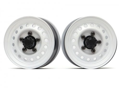 "Boom Racing 1.55"" 16-Hole Classic Steelie Reversible Beadlock Wheels (Rear) w/ XT500 Hubs White"