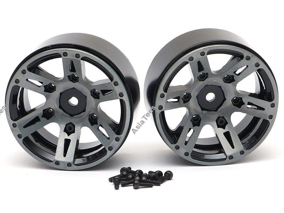 Team Raffee Co. 1.9 High Mass Beadlock Aluminum Wheels Spoke-6 (2) Black