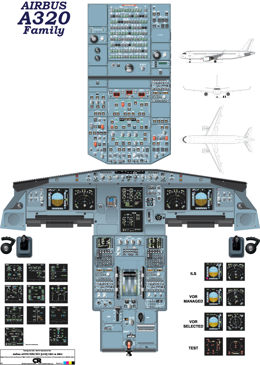 Airbus A320 (CEO v2 & NEO - LCD) Cockpit Poster - Printed