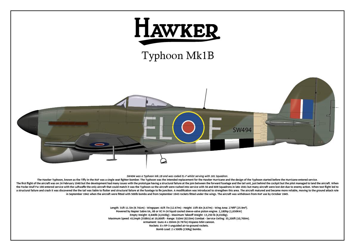 A3 Print Hawker Typhoon Mk 1B