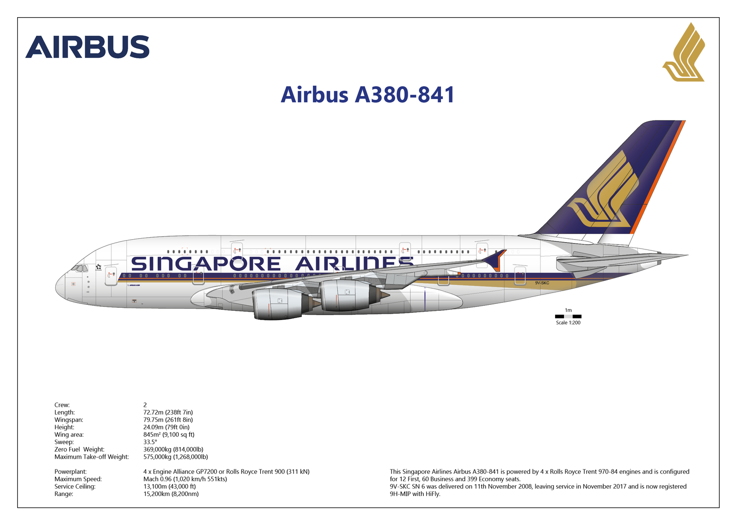 Airbus A380-841 of Singapore Airlines