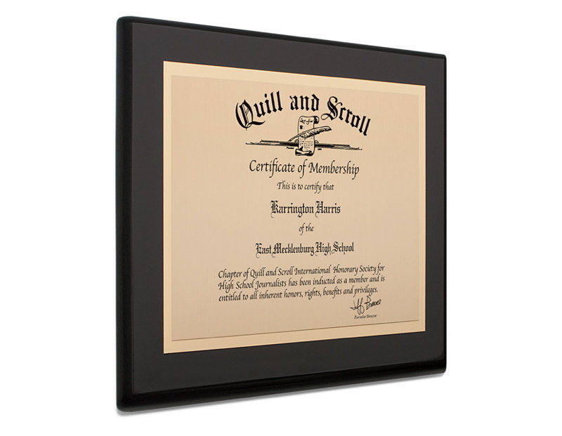 Black Piano Finished Plaque With Contrasting Gold Plate