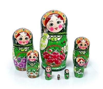 Матрёшка Семеновская «Корзина с цветами изумрудная» авторская 8 кукол