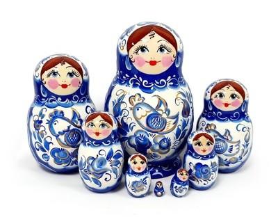 Матрёшка Семеновская авторская «Гжель» 8 кукол (15 см)