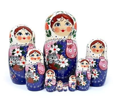 Матрёшка Семеновская «Кошка в лукошке» авторская 9 кукол