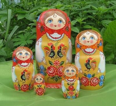 Матрёшка «Городецкие мотивы» авторская 5 кукол