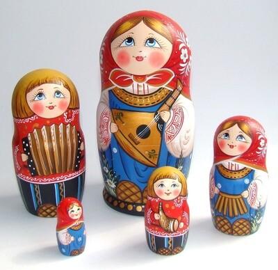 Матрёшка авторская «Маруся с балалайкой» 5 кукол