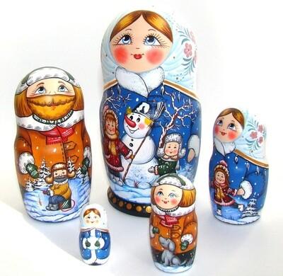 Матрёшка авторская «Зимние забавы» 5 кукол