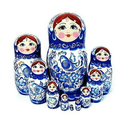 Матрёшка Семеновская авторская «Гжель» 10 кукол