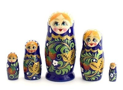 Матрёшка Семеновская «Россияночка» Хохлома 5 кукол