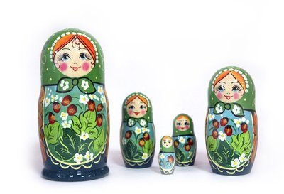 Матрёшка Семеновская «Земляничная поляна» авторская 5 кукол