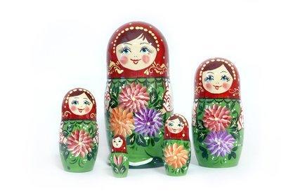 Матрёшка Семеновская «Астры» авторская 5 кукол