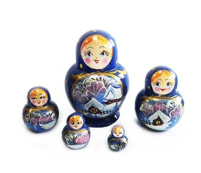 Матрёшка Семеновская «Катюша» зимний пейзаж 5 кукол