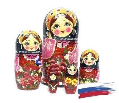 Матрёшка Семеновская «Корзина с цветами малиновая» авторская 5 кукол