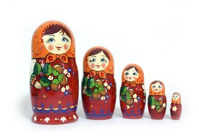 Матрёшка Семеновская  «Ореховый букет» авторская 5 кукол