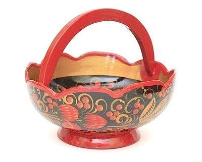 Конфетница-корзина 150x120 с хохломской росписью.