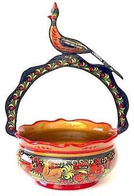 Корзина с птицей 360x250 с хохломской росписью
