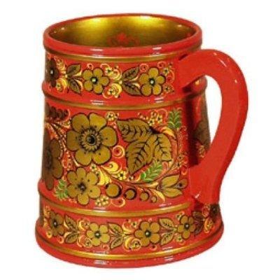 Кружка для пива  с хохломской росписью 200х150