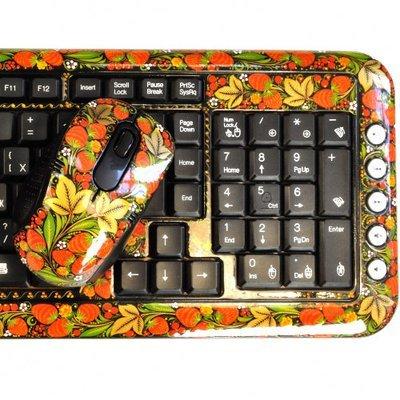 Клавиатура Хохлома, Вернисаж K207-11, беспроводной комплект с мышью, A4Tech