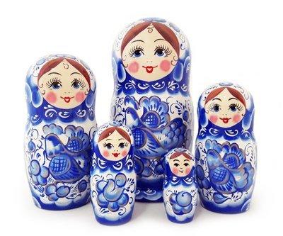 Матрёшка Семеновская авторская «Гжель» 5 кукол