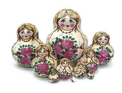 Матрёшка Семеновская «Катюша» с выжиганием. 10 кукол