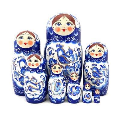 Матрёшка Семеновская авторская «Гжель» 8 кукол (20 см)