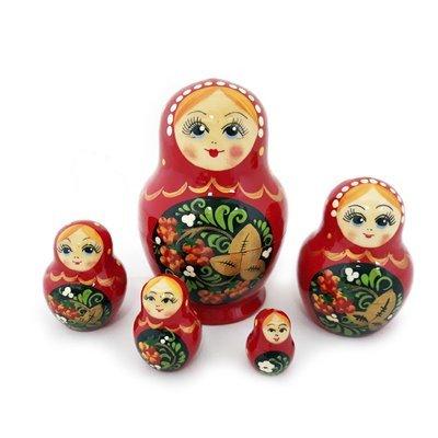 Матрёшка Семеновская «Катюша» Хохлома 5 кукол
