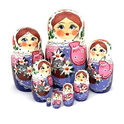 Матрёшка Семеновская «Кошка в лукошке» авторская 8 кукол