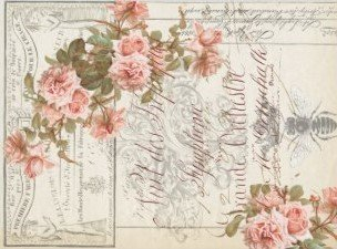 "Floral Ephemera Decoupage Tissue Paper 17"" x 23"" (two sheets)"