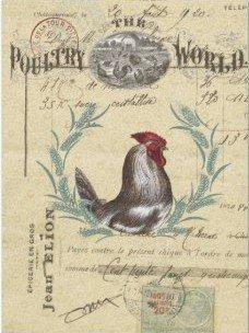 "Poultry World Ephemera Decoupage Tissue Tissue Paper 17"" x 23"" (2) sheets"