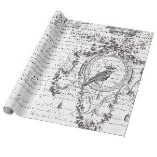 B&W Bird Script 60lb Decoupage Matte Wrapping Paper