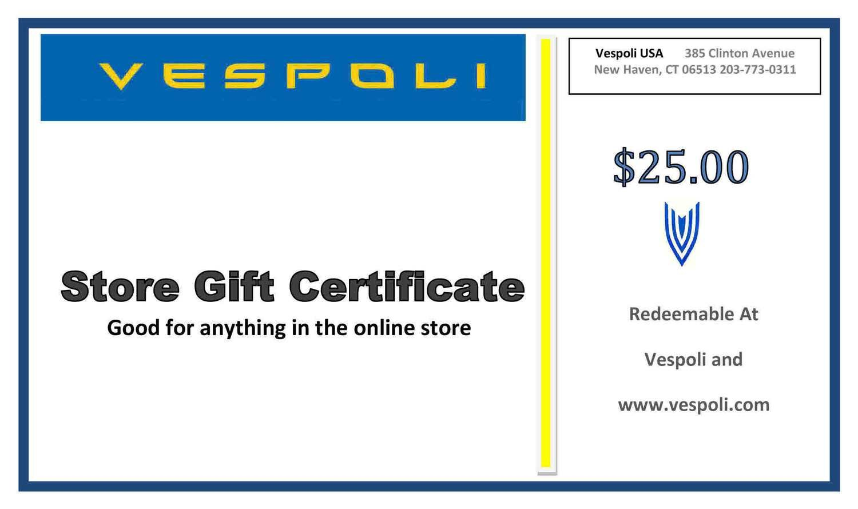 Vespoli Store Gift Certificate