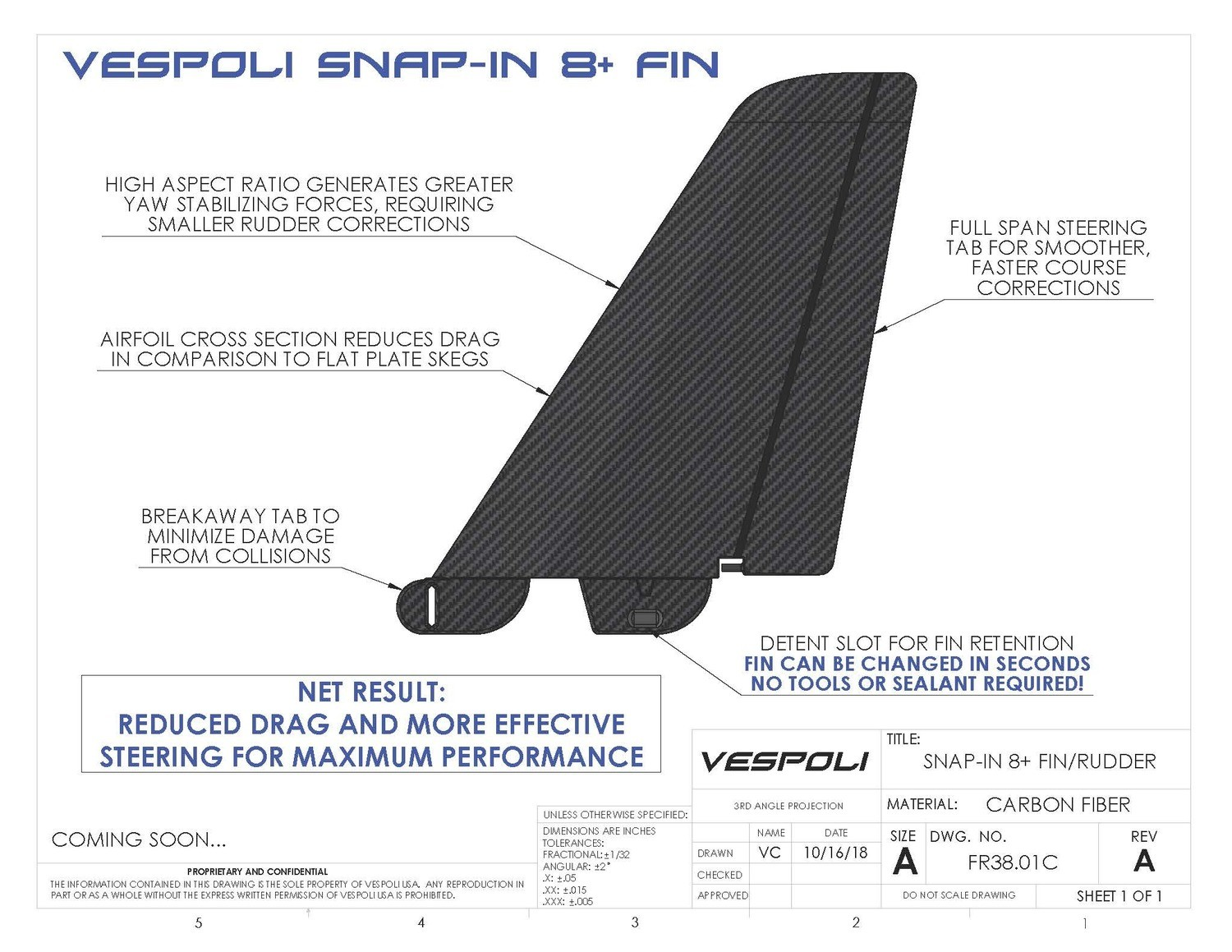 VHP Snap-In Fin/Rudder Combo for Eights