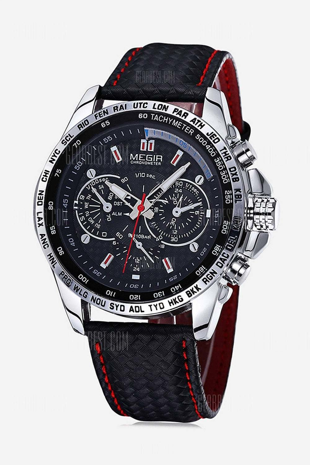 Megir 1010 Men Quartz Watch with Genuine Leather Band Color: BLACK