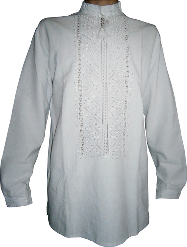 вишиванка чоловіча білим по білому на домотканому полотні (Арт. 00034) ce9c0f1b7d1a6