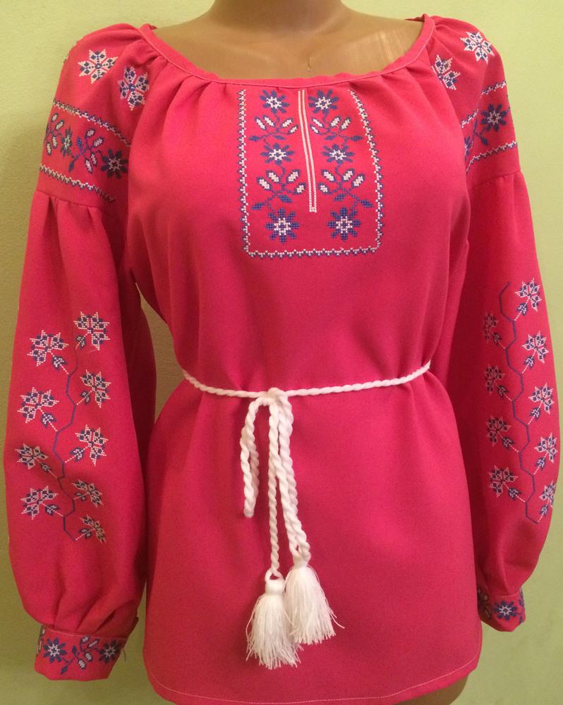 вишиванка жіноча на червоному габардині (Арт. 01057) 433fd2bfa5665