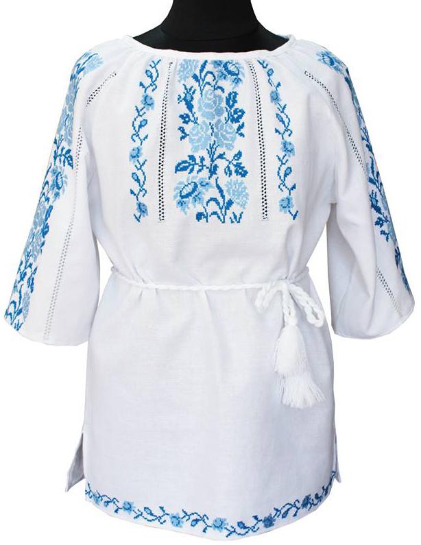вишиванка жіноча з квітами на домотканому полотні (Арт. 00330) 29142af796192