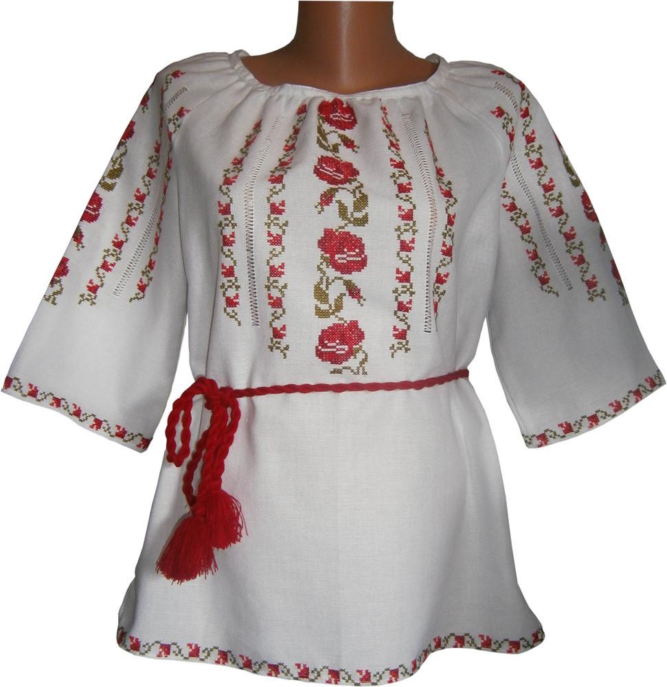 вишиванка жіноча з квітами на домотканому полотні (Арт. 00507) 7f8c582101963